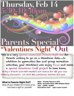 parent's night out | parents night out flyer Valentines Day | Gymnastics World
