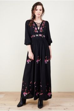 Vita Black Embroidered Maxi Dress - Earthbound Trading Co.