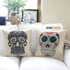 Home Style Cotton Linen Decorative Couple Throw Pillow