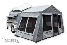 Camping Trailer Tent :))  Our family had one of these until a bear wanted to peek in one camping trip...parents sold it and got a camper!
