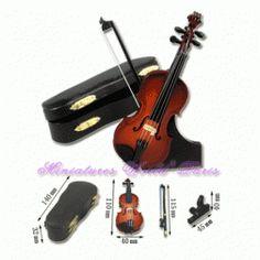 Violon de 11 cm en bois - V11 1/12ème #maisondepoupées #dollhouse #violon #violin #instrument #musique #music #miniatures #miniature #bois #wood
