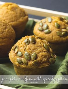Top hearty pumpkin muffins with spiced pepitas for an ideal autumn snack. Healthy Dinner Recipes, Healthy Snacks, Vegetarian Recipes, Strawberry Cream Cheese Frosting, Crockpot Recipes, Cooking Recipes, Fall Snacks, What To Cook, Eat Cake
