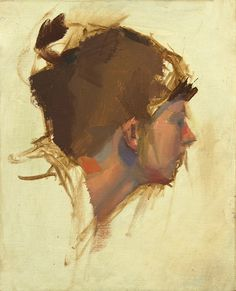 "H profile, Oil on muslin panel, 8x6"" 2012 by Taylor Woolwine"