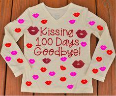 100 days of School Shirt, Kissing 100 Days Goodbye Shirt by MermaidMakery on Etsy https://www.etsy.com/listing/506570603/100-days-of-school-shirt-kissing-100