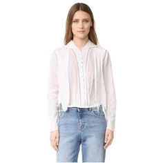 Intropia Eyelet Button Down Blouse (9,945 DOP) ❤ liked on Polyvore featuring tops, blouses, white, long sleeve lace top, crochet crop top, white long sleeve blouse, white lace top and white button up blouse