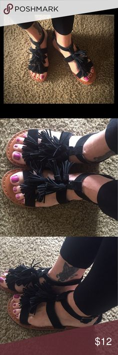 Black sandals Gently worn black suede tassel sandals in good shape.  I apologize for my feet, not the best foot genes in our family. American Eagle Outfitters Shoes Sandals