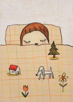 Yoshitomo Nara Concepto: Los sueños sobre la cama.