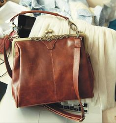 11'' Retro Leather Messenger Bag Women Leather by ExquisiteBag, $18.99