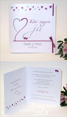 Ausgefallenen und besondere Hochzeitskarten mit süßen kleinen Herzen und edlen Satinbändern in einem dunklen Pink. #hochzeitseinladung  #style  #hochzeitsdeko