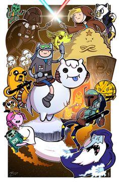 Personagens de Adventure Time protagonizando pôsteres geeks!