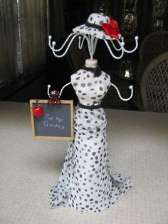 Custom designed jewelry display doll!  What a great gift for your favorite teacher. http://www.facebook.com/pages/CharlottesOriginals/111229735592494  #teachergifts #Customdolls #polkadotdress