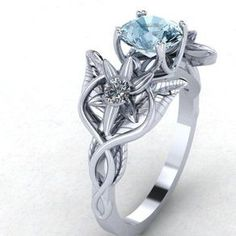 Elvish Flower And Leaves Infinity Symbol Engagement Ring by Mary Nolan