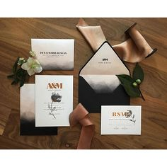 """Loved designing this invitation suite for @travisj_photo and @stthomasfloraldesign workshop with @photonative . I did copper foil on black and blush stationery printed by @prodigitalphotos This suite is coming to my shop soon!"" Photo taken by @westendgirlstudio on Instagram, pinned via the InstaPin iOS App! http://www.instapinapp.com (02/13/2016)"