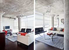 loft living room in gray