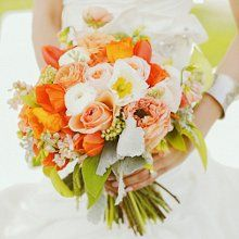 Orange & white bridesmaid bouquet...