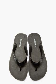 DIESEL Black Slip-On Sandals