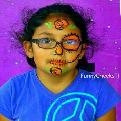 Dia De Los Muertos Sugar Skull face painting by FunnyCheeksTJ Dallas Face Painter