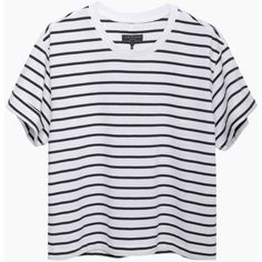 Rag & Bone The Boy Tee (253.730 COP) ❤ liked on Polyvore featuring tops, t-shirts, shirts, tees, short sleeve tees, striped shirt, stripe shirt, boxy t shirt and striped tee