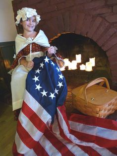 Betsy Ross..Girls Colonial Dress/Cap/ Modesty scarf and Apron - ashley's attic