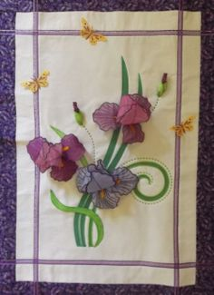 Iris Wall Hanging.  Iris 3D flower.