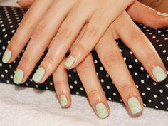 yellow caviar nail art with mint green nail polish