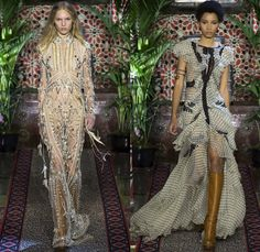 Roberto Cavalli 2017 Spring Summer Womens Runway Catwalk Looks - Milano Moda Donna Collezione Milan Fashion Week Italy - 1970s Seventies Hippie Bohemian Flare Patchwork Denim Jeans Poncho Cloak Cape Fringes Tribal Ethnic Western Cowgirl Vest Gilet Flowers Floral Suede Stripes Embroidery Bedazzled Sheer Chiffon Jacket Blazer Velvet Bralette Robe Geometric Strapless Blouse Sequins Ruffles Gold Jacquard Furry Leather Maxi Dress Gown Eveningwear Studs Leg O'Mutton Sleeves Ombre Leopard…