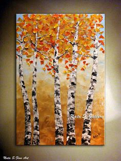 Landscape painting.Abstract Heavy Textured Painting.Palette Knife.Sky,Birch Trees Painting.Fall.Autumn.Modern Painting.Fine Art.Modern Wall Decor.