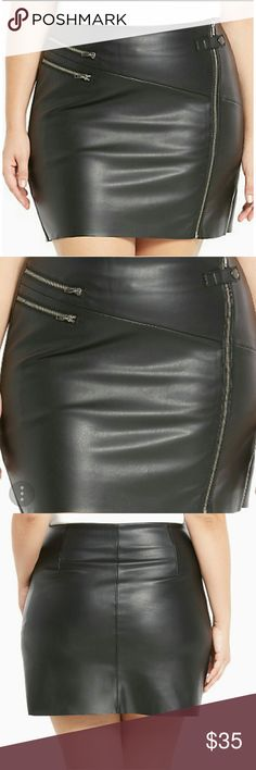 """Torrid Faux Leather Zipper Mini Skirt Super Sexy Brand New Faux Leather Zipper Mini Skirt. The buttery-soft black faux leather outer and faux suede lining keep you cruising in the comfort zone. Multiple hematite zippers, a snap closure, and a thigh-skimming length. This style runs small. Size 1 measures 17 3/4"""" from center front. torrid Skirts Mini"""