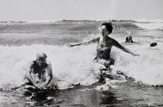 Art writer Rosamund Bernier interviews Henry Moore in the surf. Ridiculous.