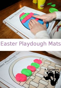 Free Easter Playdough Mats Printable - 10 different pages - 3Dinosaurs.com