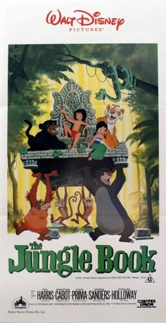 Jungle Book Disney, 1984 - original vintage movie poster for the Australian re-release of the classic Walt Disney animated family musical film, The Jungle Book, featuring the voices of Bruce Reitherman as the man cub Mowgli, Phil Harris as the bear Baloo, Sebastian Cabot as the panther Bagheera, George Sanders as the tiger Shere Khan, Sterling Holloway as the snake Kaa and Louis Prima as the ape King Louie of the monkeys, listed on AntikBar.co.uk