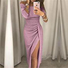 Party Dress 2018 Women Shiny Off Shoulder Ruched Thigh Slit Dress Sexy Club Wrist Sleeve Dress Vestidos, Get together Costume 2018 Ladies Shiny Off Shoulder Ruched Thigh Slit Costume Horny Membership Wrist Sleeve Costume Vestidos Get together Costume Party Dresses For Women, Club Dresses, Fall Dresses, Evening Dresses, Prom Dresses, Peplum Dresses, Sleeve Dresses, Sequin Dress, Glitter Dress