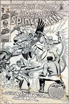 The Bristol Board - Original and final cover art by John Romita Sr. from The Amazing Spider-Man Annual #6, published by Marvel Comics, November 1969.