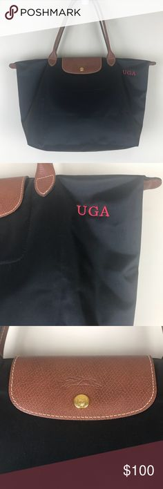 "=LONGCHAMP=UGA LARGE TOTE BAG NWOT uga longchamp bag tote purse handbag. Black and brown. Logo pull. Red uga embroidery on one side. Please note small white dot on bottom side. Large!  12.25x11.75x7.75""  Never used. Was made for me this year and just sat in my closet. Too big for me..go dawgs!! Longchamp Bags Totes"