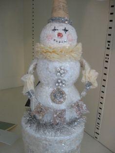vintage paper mache snowman