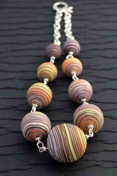 Polymer Clay Statement Necklace with Graduated Purple by Rouladen, $40.00