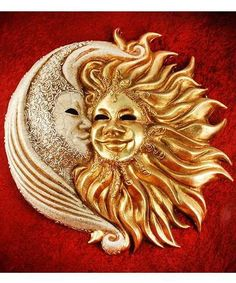 Sun Moon kiss by Blue Moon Mask Sun Moon Stars, Sun And Stars, Venice Mask, Moon Images, Moon Illustration, Sun Art, Venetian Masks, Moon Child, Mask Design