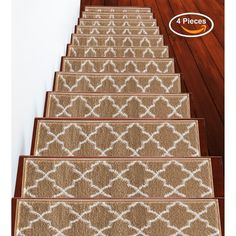 """Shop SUSSEXHOME Trellisville Collection Stair Treads Polypropylene 9""""x28"""" - On Sale - Overstock - 31045220 - Brown - 13-PACK Carpet Stair Treads, Carpet Stairs, Patterned Stair Carpet, Stair Mats, Dark Carpet, Packing Light, Beige, Online Home Decor Stores, Memorable Gifts"""