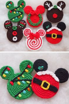 Disney Mickey Mouse Head Christmas Ornaments Crochet Pattern christmas ornaments disney Crochet Christmas Decorations {Make some cute ornaments for your tree! Natal Do Mickey Mouse, Crochet Mickey Mouse, Mickey Mouse Ornaments, Minnie Mouse Christmas, Mickey Mouse Wreath, Mickey Mouse Crafts, Mickey Mouse Head, Crochet Disney, Disney Crochet Patterns