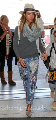 SHOP Rialto Rialto Hand-Painted Vintage Boyfriend Jeans Seen On Jessica Alba