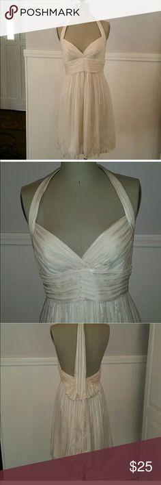 White BCBGMaxAzria halter dress White striped silk Marilyn Monroe inspired halter dress, tied at neck and waist. Zipper at center back. BCBGMaxAzria Dresses Midi