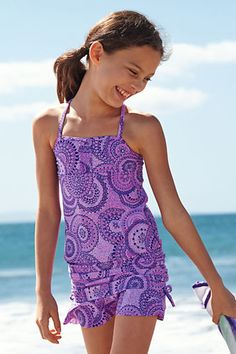 Girls' Butterfly Gardens Ruffle Tankini Top from Lands' End