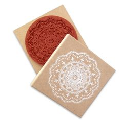 Stempel groot doily, lace, kant.  Huge doily, lace stamp 10x10 cm