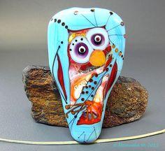 Kinda looks like an Owl to me...Florence  handmade lampwork glass focal bead by Manuelas Glass Art