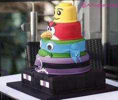 Awesome Character Cake! Minecraft Enderman, Purple Minion, Leonardo Ninja Turtle, Red Angry Bird, Lego Head