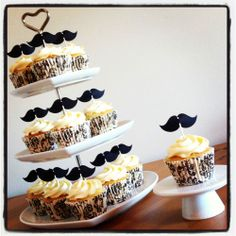 12 VINTAGE MOUSTACHE CUP CAKE FLAG Pick Topper Decoration Wedding Hen Mustache