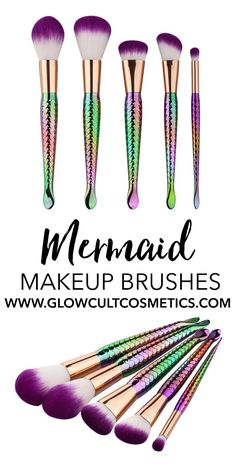 Mermaid makeup brushes - with scales, and gorgeous purple/white gradient brush h. Mermaid makeup brushes - with scales, and gorgeous purple/white gradient brush heads! Makeup Goals, Love Makeup, Makeup Tips, Crazy Makeup, Makeup Geek, Makeup Tutorials, Makeup Art, Makeup Ideas, Beauty Make-up