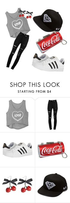"""""""Kpop ❤ Coca Cola"""" by cocoiskewl on Polyvore featuring Yves Saint Laurent, adidas and Diamond Supply Co."""