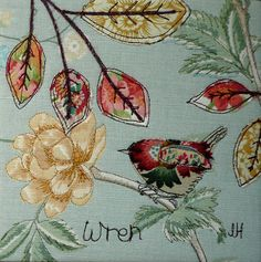 Inspiration. Applique on printed fabric http://www.johilltextiles.co.uk/images/uploads/Wren8Web.jpg