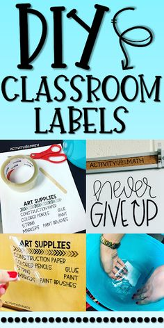 DIY Classroom Labels. Easily make you own labels using only clear packing tape. Label everything in your classroom using your own fonts and clip art. Step-by-step instructions with pictures on how to create labels that stick to any smooth surface!